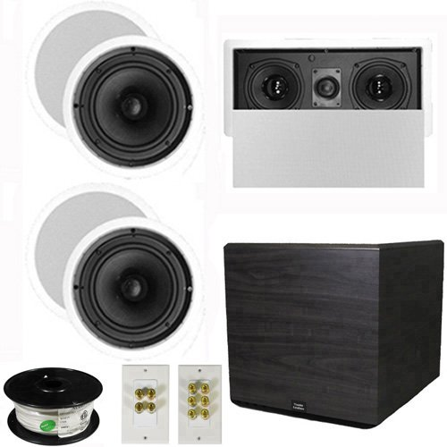 "Theater Solutions 5.1 Home Theater 8"" Ceiling Speaker Set With Center, 15"" Powered Sub And More Ts80Cl51Set8"