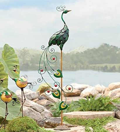 A Peacock Garden Statue Features U201cleafu201d Plumage And Train With Glass Marble  Accents. Sturdy Base With Scroll Detailing. Adds A Regal Touch To Your Home  Or ...