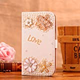 Locaa(TM) For Sony Xperia M2 S50h 3D Bling Cases Deluxe Luxury Crystal Pearl Diamond Rhinestone eye-catching Beautiful Leather Retro Support bumper Cover Card Holder Wallet Case - [General series] crown love