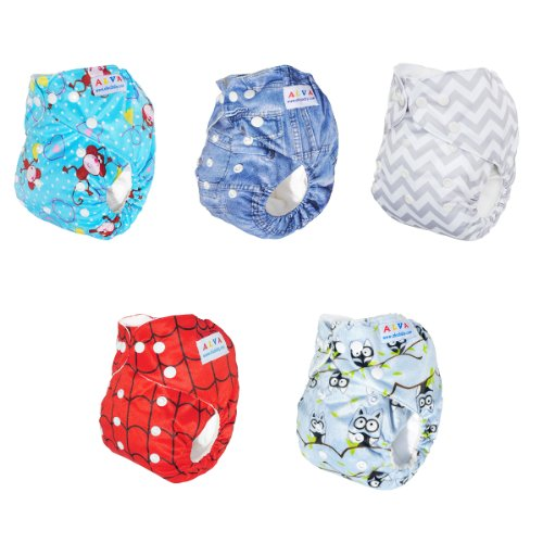 Alva Baby One Size Pocket Washable Bamboo Viscose Cloth Diapers Nappies 5pcs (Neutral) 5DM08 - 1