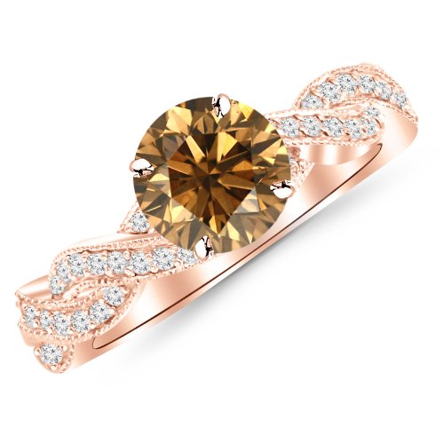 Champagne Diamond Rose Gold Ring