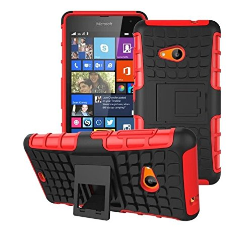 For Nokia Lumia 535 Tough Rugged Dual-Layer with built in Kickstand Case Cover - Red Color