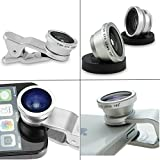 DMG Universal 3 In 1 Clip-On Mobile Cell Phone Camera Lens Kit, 180 Degree Fisheye Lens + 0.67X Wide Angle + 10X...