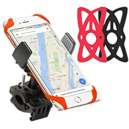 Bike Phone Mount Holder (Black&Red), ISSIKI, Universal Bicycle Handlebar Roll Ball Mount Adjustable Cell Phone Holder Cradle for iPhone 6 6S Plus, Samsung Galaxy.