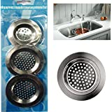 3 Bonde d'évier de cuisine en métal pour bonde de lavabo filtre Panier
