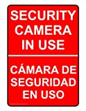 ComplianceSigns Vinyl Security Camera Label, 7 x 5 in. with English + Spanish, Red
