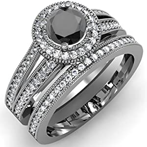 1.25 Carat (ctw) 14k White Gold Round White And Black Diamond Ladies Split Shank Halo Style Bridal Engagement Ring Set With Matching Band 1 1/4 CT (Size 6.5)