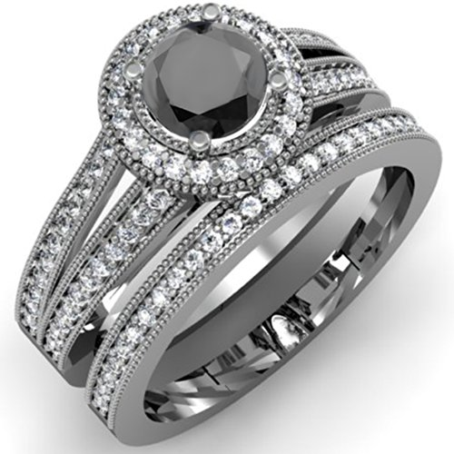 Black Diamond Bridal Engagement Set