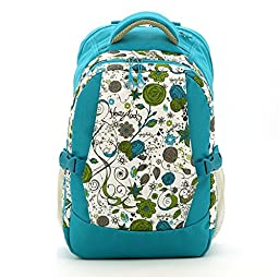 Large Capacity Travel Diaper Bag /Floral Bags/ Backpack with Insulated 3 Bottle Pockets, Light Blue