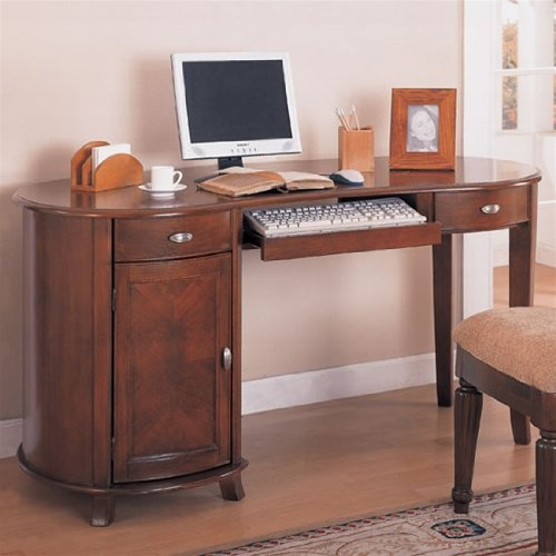 Buy Low Price Comfortable Home Office Kidney Shaped Computer Desk in Cherry Finish – Coaster Co. (B003XR82C0)
