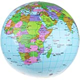 "Sanheshun 36cm/14"" Inflatable Earth World Globe Map Beach Ball Educational Geographical Toy"