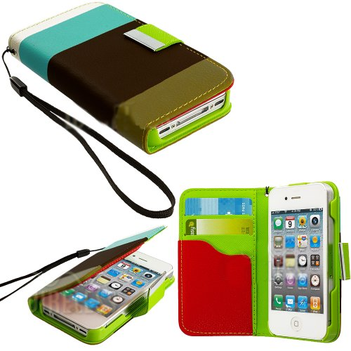 Mylife (Tm) Colors Of Earth Design - Textured Koskin Faux Leather (Lanyard Strap + Card And Id Holder + Magnetic Detachable Closing) Slim Wallet For Iphone 4/4S (4G) 4Th Generation Touch Phone (External Rugged Synthetic Leather With Magnetic Clip + Intern