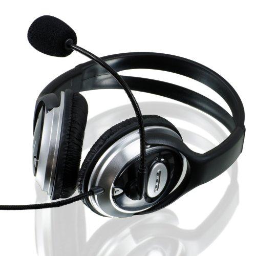 CSL S-085 Multimedia Headset Pro HQ 960 | Komfort Gaming Kopfhörer mit Mikrofon in Silber/Schwarz