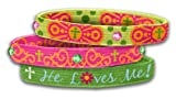 Bracelet-Stretch Bangle-He Loves Me-Green (Set Of 3)