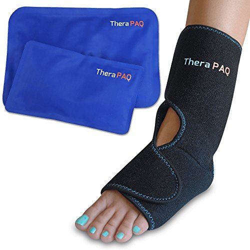 Foot & Ankle Pain Relief Ice Wrap with 2 Hot / Cold Gel Packs | Best for Achilles Tendonitis, Plantar Fasciitis, Bursitis & Sore Feet | Adjustable, Microwaveable, Freezable and Reusable (XS-XL) (Cold Sore Machine compare prices)