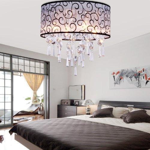 Lightinthebox Modern Elegant Crystal Chandelier Flush Mount Ceiling Light Fixture With 4 Lights For Bedroom, Living Room