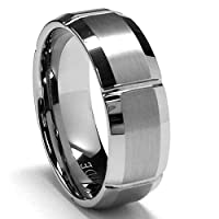 7MM Grooved Tungsten Carbide Ring Wedding Band Size 6.5