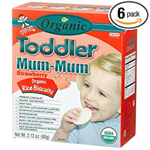 Hot Kid Organic Toddler Mum-Mum Strawberry Flavor Rice Biscuit, 24-Count  Box(Pack of 6)