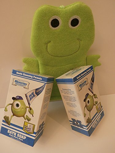 Bath Puppet Wash Cloth Green Frog Bath Mitt & Monsters University Bath Soap Scary Berry Berry Scent