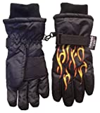 Nice Caps Boys Ski Glove with Flame Print