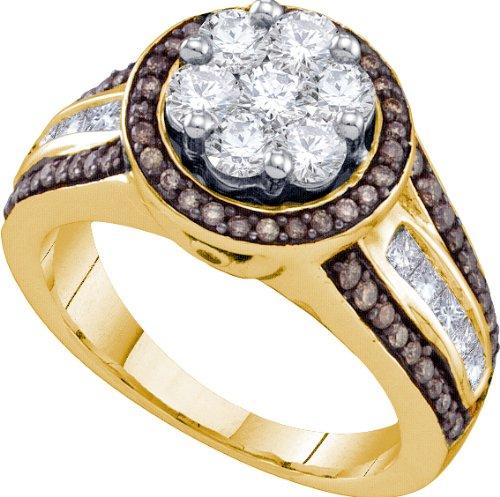 Ladies 10K Yellow Gold 1.39ct Diamond Flower Engagement Promise Ring Wedding Band