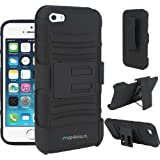 Maxboost Shell Holster Combo - Dual Layerd Protective Case for iPhone 5S & iPhone 5 with Kick-Stand Belt Clip Holster - Fits Any Version of Apple iPhone 5S / iPhone 5 including AT&T, Verizon, Sprint, International Version