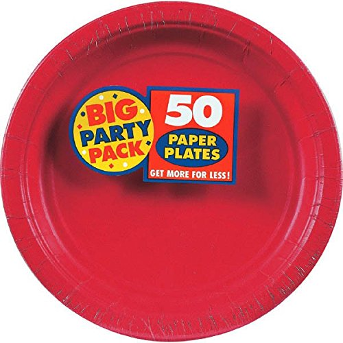 AMSCAN-Big-Party-Pack-7-Paper-Luncheon-Plate-50-Pack-Apple-Red