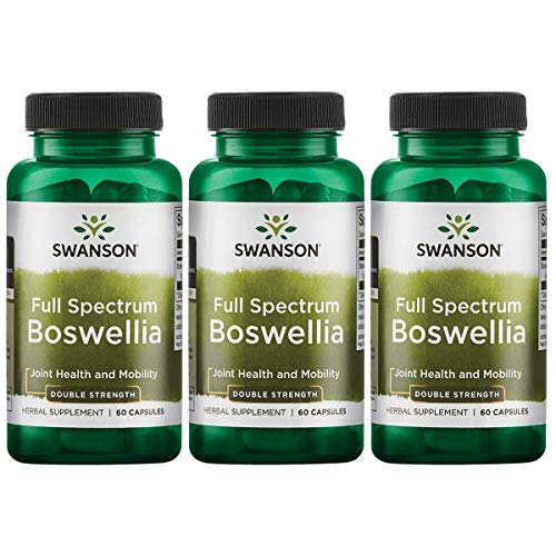 Swanson Boswellia Joint Mobility Respiratory Health Support Supplement Full Spectrum Double Strength 800 mg 60 Capsules (3 Pack)