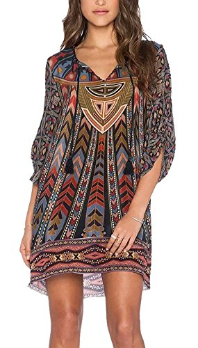 Women Bohemian Neck Tie Vintage Printed Ethnic Style Summer Shift Dress (Medium, pattern 9)