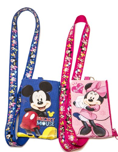 Disney Set of 2 Mickey and Minnie Mouse Lanyards with Detachable Coin Purse by n/a