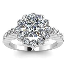 buy Milgrain Detailed Engagement Ring Bezel Set 1.1 Carat Round Cut Diamond (F Color, Si1 Clarity)