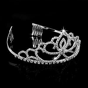 MSmask Elegant Wedding Pageant Bridal Crown Headband Tiara Charming Rhinestone Headpiece