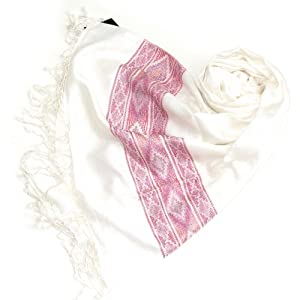 Clothing & Accessories White & Pink Women Scarf - Navajo Tribal Trendy Pashmina Shawl Scarves for ladies - Winter Scarfs