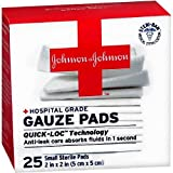 Johnson & Johnson 2 Inch x 2 Inch hospital Grade Gauze Pad, 25 Count (Pack of 2)
