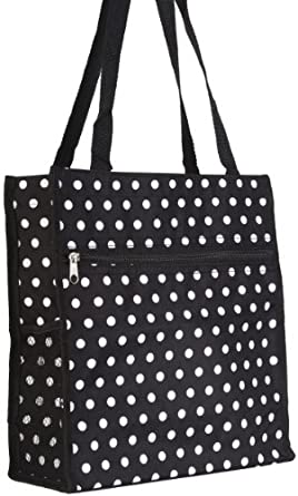 World Traveler Black White Polka Dots Travel Tote Bag 12-inch