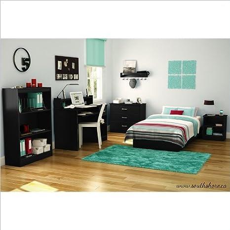 South Shore Libra Kids Pure Black Twin Wood Platform Bed 3 Piece Bedroom Set