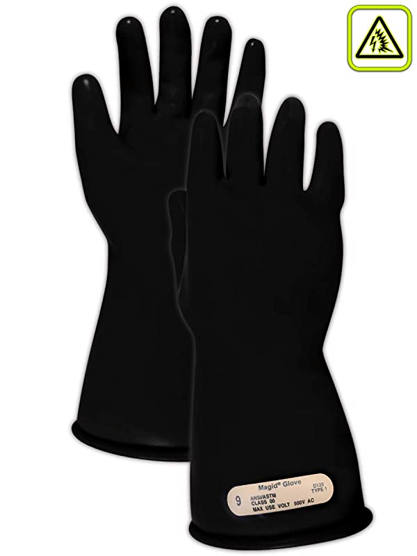 Magid M00 A.R.C. Natural Latex Rubber Class 00 Insulating Glove with Straight Cuff, Work, 11 Length, Size 10.5, Black (Color: Black, Tamaño: Size: 10.5 | 11 Long)