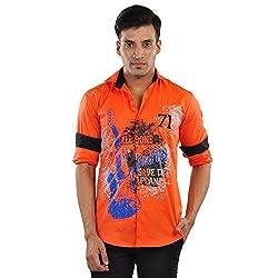 CREEDS Men's Orange Cotton Casual Shirt(Medium)
