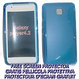 KGC IMPORT custodia + pellicola WAVE BLU per Samsung Galaxy Player 4.2 - custodia cover case per Samsung Galaxy...
