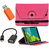 Jkobi 360° Rotating Front & Back Tablet Book Flip Case Cover For Micromax Canvas Tab P666 (Universal) With Card...