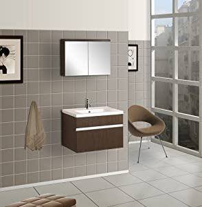 DreamLine DLVRB-103-WG Wall-Mounted Modern Bathroom Vanity with ...