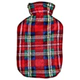 Warm Tradition Child/Travel Size Red Green Plaid Fleece Covered Hot Water Bottle - Bottle made in Germany, Cover made in USA