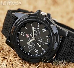 Mens Black Army Military Pilot Aviator Swiss Outdoor Sports Watch-Fabric/Canvas Strap 17-21cm-Decorative dial 4cm-Luminous Hands