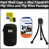 Hard Shell Carrying Case & Flexible Mini Tripod Kit For Flip Ultra And Mino Camcorders Package Includes Free Pack Of LCD Screen Protectors & Lens Cleaning Kit