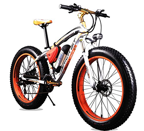 Richbit-Electric-Bike-Cruiser-Bike-Electric-Mountain-Bicycle-Snow-Bike-ebike-350W-Motor36V-Lithium-Battery-with-Shimano-TX-21-Speeds-System-40-inch-Fat-Tire-Suspension-Fork-RT-012-Orange