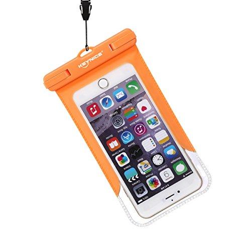 Keynice スマホ防水ケース iPhone 6 plus 6S 5S 大きめサイズ対応 防水保護等級IPX8取得 ストラップとアームバンド付 (オレンジ)