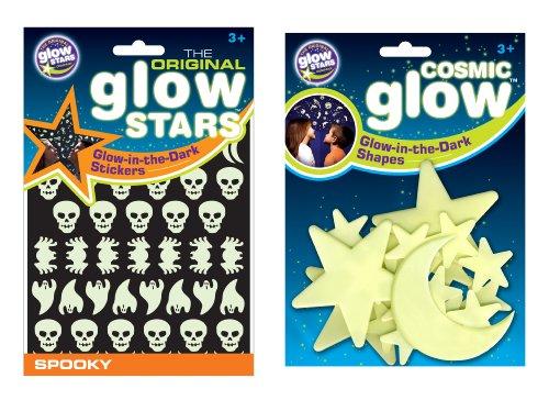 The Original Glowstars Company Cosmic Glow - Pegatinas que brillan en la oscuridad, diseño de luna, estrellas y figuras de miedo