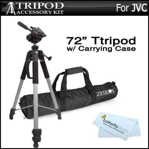 "Pro 72"" Super Strong Tripod With Deluxe Soft Carrying Case For JVC GS-TD1, GZ-HD520, GZ-HM30, GZ-HM440, GZ-HM450, GZ-HM50, GZ-HM650, GZ-HM670, GZ-HM690, GZ-HM860, GZ-HM960 HD Everio Camcorder"