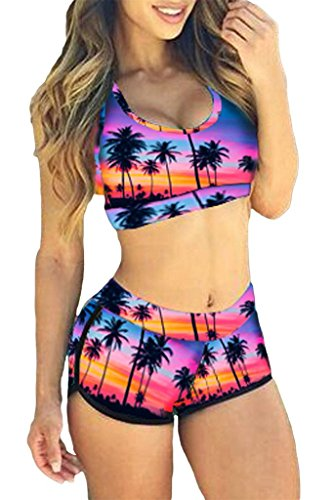 Dearlovers Women Two Pieces Halter Printed Bikini Set Swimsuit Beachwear Pink&Purple