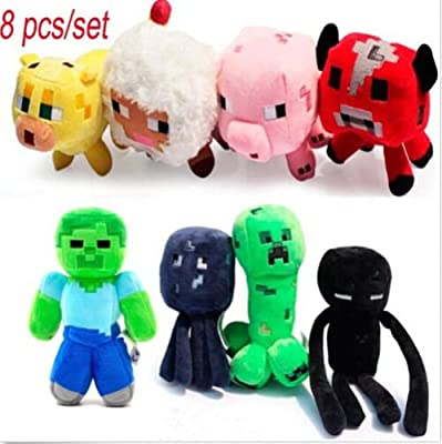Funsion 8pcsset Minecraft Enderman Creeper Mooshroom Cow Zombie Steve Pig Cat Sheep Squid Game Overwold Soft Plush Toys Kit Stuffed Aminal Dolls by Minecraft